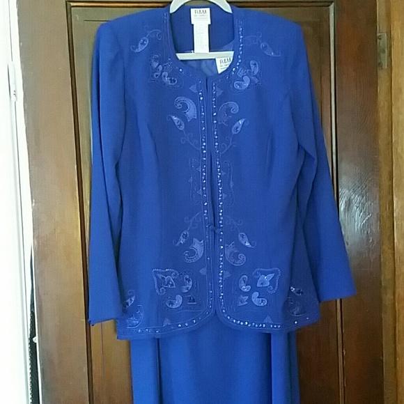 R & M Richards Dresses & Skirts - R&M Richards Formal Cobalt Blue Dress with Jacket